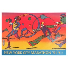 "Vintage ""New York City Marathon"" Poster by Peter Max, 1991"