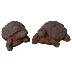 Pair Life Size Cast Hard Stone Tortoise Garden Statues in Bronzed Finish, 20th C