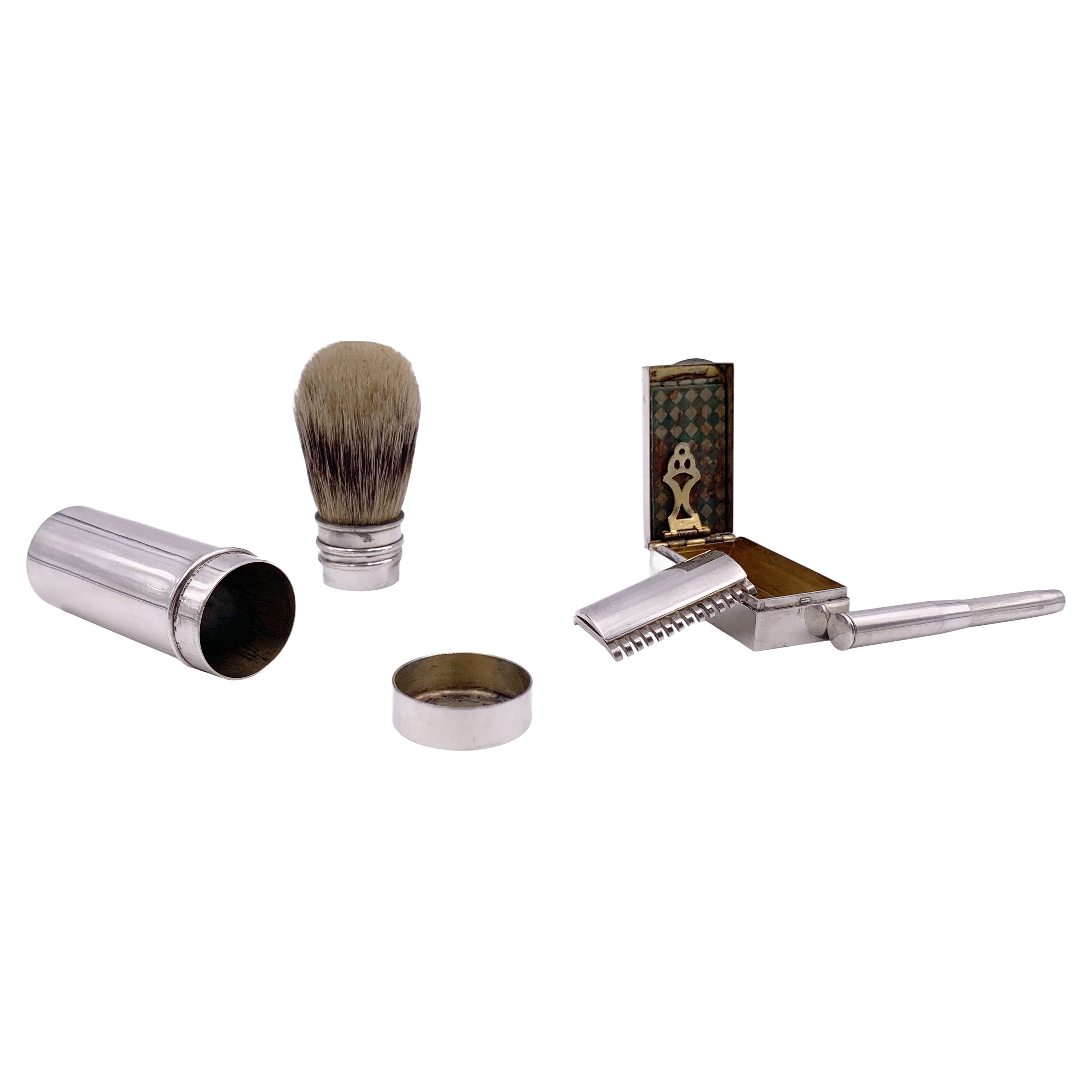 Tiffany & Co. Sterling Silver 3-Piece Traveling Grooming Set w/ Razor & Brush