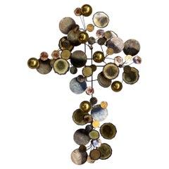 Curtis Jere Brass Raindrops Hanging Wall Art Sculpture