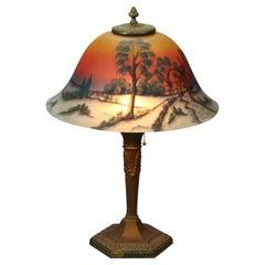 Antique Arts & Crafts Phoenix Reverse Painted Lamp, Landscape, c1920