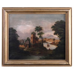 Antique Thomas Chambers School Folk Art Oil on Canvas of Cathedral Ruins, c1830