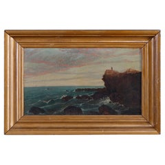 Antique Oil on Canvas Painting of Coastal Cliffside Seascape with Figure, c1840