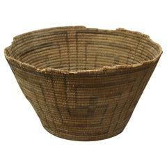 Antique Hand Woven Navajo Indian Basket, Whirling Log Good Luck Design, c1920