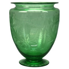 Antique Hawkes or Sinclaire Acid Etched Green Glass Vase, Circa 1930