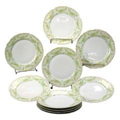 Ten Antique French Elite Works Limoges Dinner Plates, Circa 1900