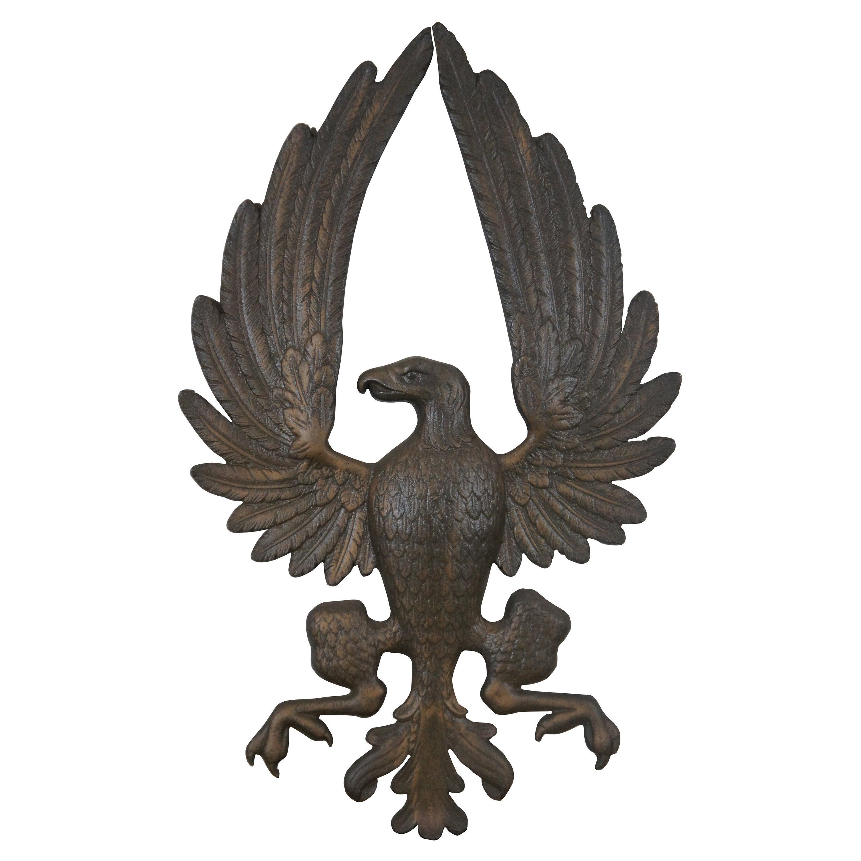 Vintage Solid Brass American Bald Eagle Wall Plaque Emblem Crest Heraldic