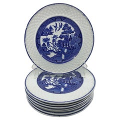 Set of Eight Blue and White Willow Basketweave Plates