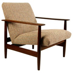Midcentury Mahogany and New Fabric Lounge Chair by Knoll Antimott, Germany