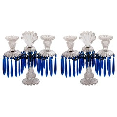 Pair of English Victorian Cut Crystal Candelabras