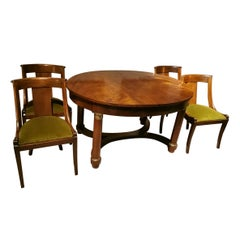 Extendable Frenchempire Style Dining Table in Mahogany-Burr with Four Chairs