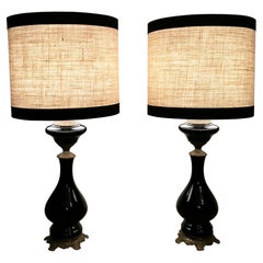 Pair of Black Opaline Glass Oil Lamps with Lampshade and Brass Decoration France