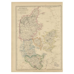 Antique Map of Denmark with Schleswig-Holstein by W. G. Blackie, 1859