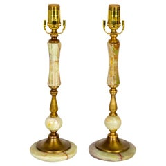 1940s Multi Green Onyx & Brass Table Lamps 'Pair'
