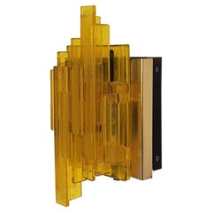 Acrylic and Metal Wall Lamp by Claus Bolby for Cebo Industri, Denmark, 1960's