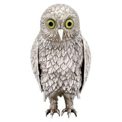 Antique German Sterling Silver Table Owl, circa 1910