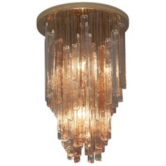 Italian Murano Chandelier with Brass and Glass Elements