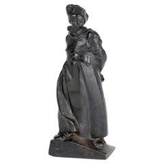 Russian Cast Iron Komsomol Dedicated Sculptural Signed Statue