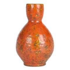 Continental, Possibly German, Mid-Century Orange Textured Art Pottery Vase