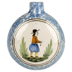 Quimper French Hand Painted Faience Pottery Flask