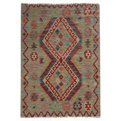 Modern Kilim Rug Wool Carpet Geometric Area Kilim Handmade Floor Rug