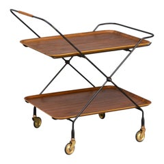 50s Metal Foldable Serving Trolley / Tray Table for Åry Fanérprodukter Nybro