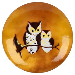 Bovano North American Hand Crafted Enamel Owl Plaque