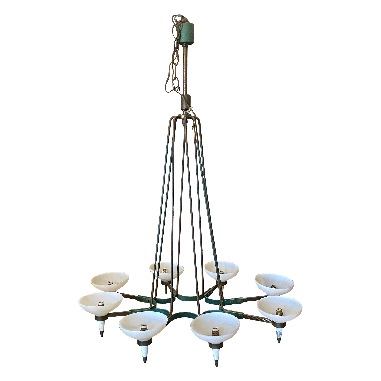 1950s Mid-Century Modern Oval Chandelier by Stilnovo