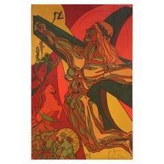 20th Century Mixed Media Canvas Italian Signed Surrealist Crucifixion Painting