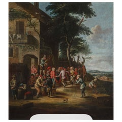 18th Century, Italian Painting, Peasants Dancing in Front of the Tavern