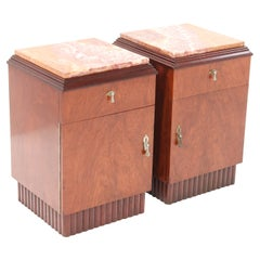 Two Walnut French Art Deco Nightstands or Bedside Tables, 1930s