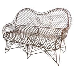 Victorian Style Wire Garden Bench Loveseat Settee