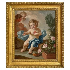 18th Century, Italian painting with Sacred Heart of the Child Jesus by Pietro Ba
