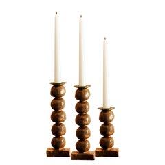 European Contemporary Gold Sculptural Candlesticks by Margit Wittig