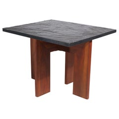 Brutalist Pearsall End Table with Faux Slate Top