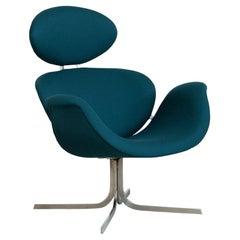 Pierre Paulin Big Tulip F551 Lounge Chair in Petrol Wool for Artifort