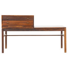 """Scandinavian Side Table """"Casino"""" in Rosewood and Brass by Engström & Myrstrand"""