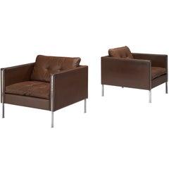 Pierre Paulin for Artifort Pair of Armchairs Model '442' in Brown Leather