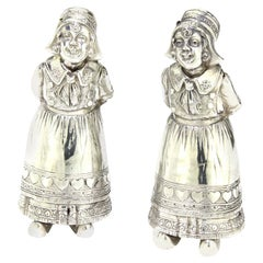 Antique 19th Century German or Dutch Pair of 930, Silver Salt & Pepper Shakers