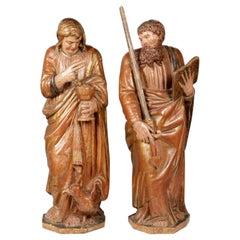 Saints Apostles John and Paul, Wood, Castillian School, 16th Century