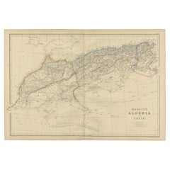 Antique Map of Morocco, Algeria and Tunisia by W. G. Blackie, 1859