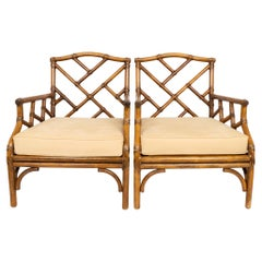 Pair of Faux Bamboo Cane Chinese Chippendale Lounge Armchairs, England, C.1960