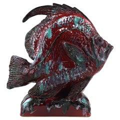 French Mid-century Glazed Terracotta Fish Sculpture, 1950s