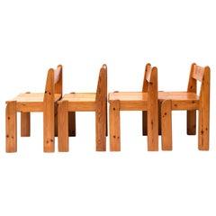 Pine Dining Chairs by Ate Van Apeldoorn, Set 4, 1970s