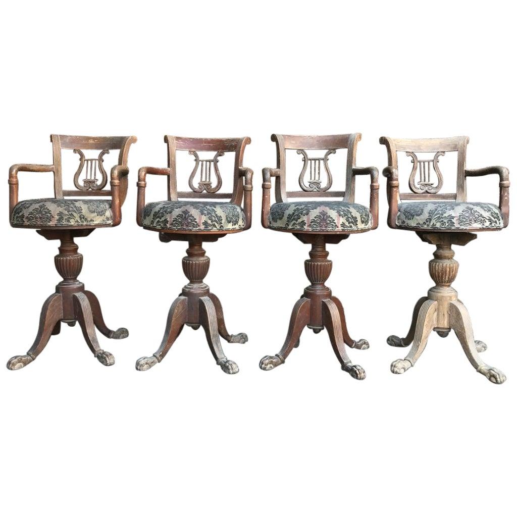 Set of Four 1920s Oak Stools