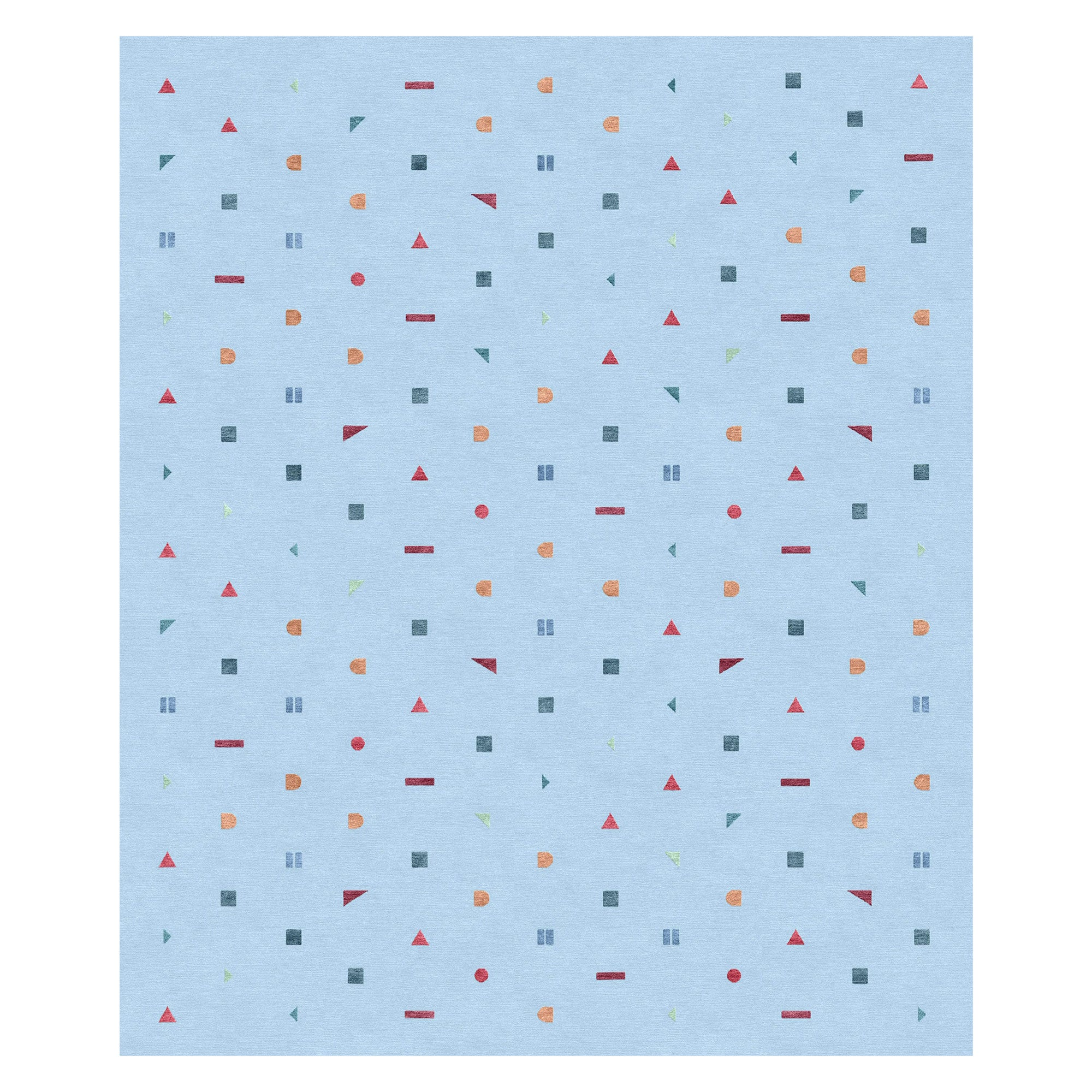 Stick Azzurro, Funny Hand-Knotted Wool Silk Rug