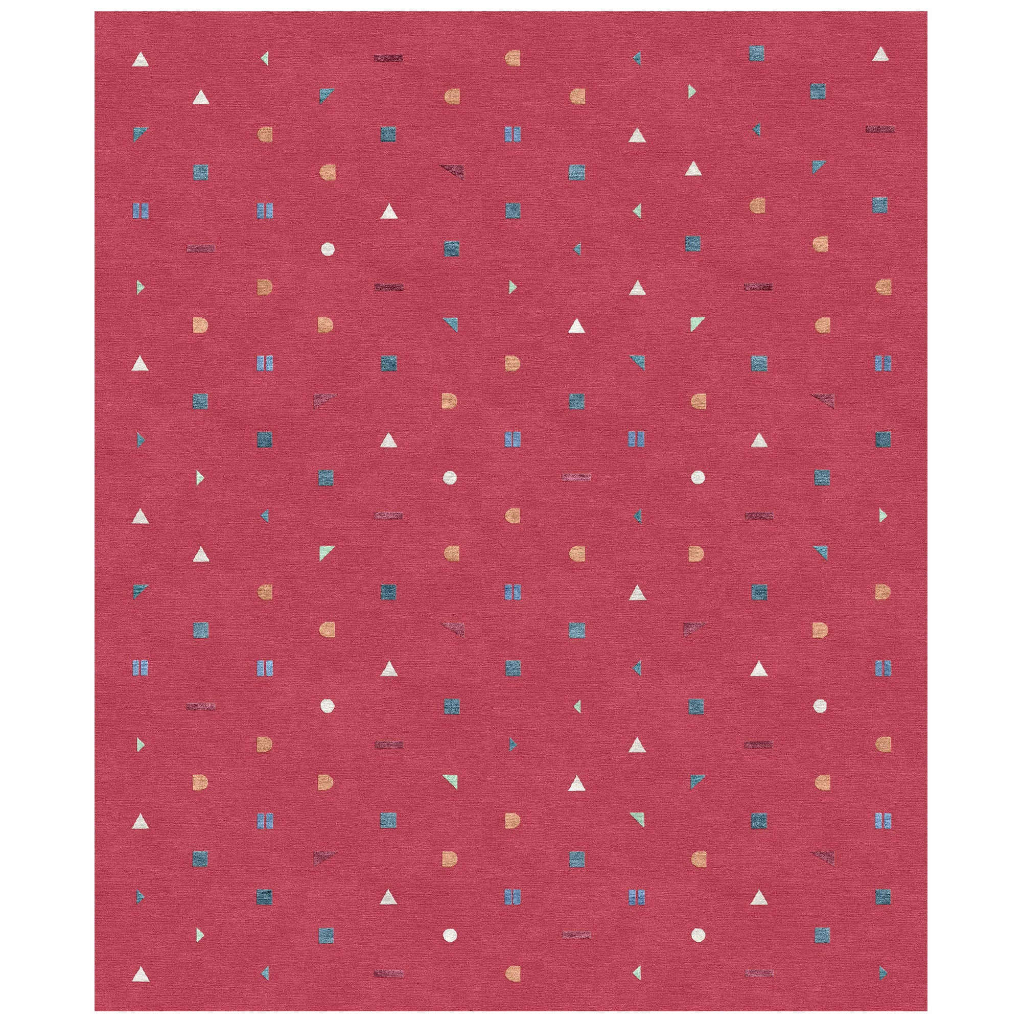 Stick Rosso, Funny Hand-Knotted Wool Silk Rug