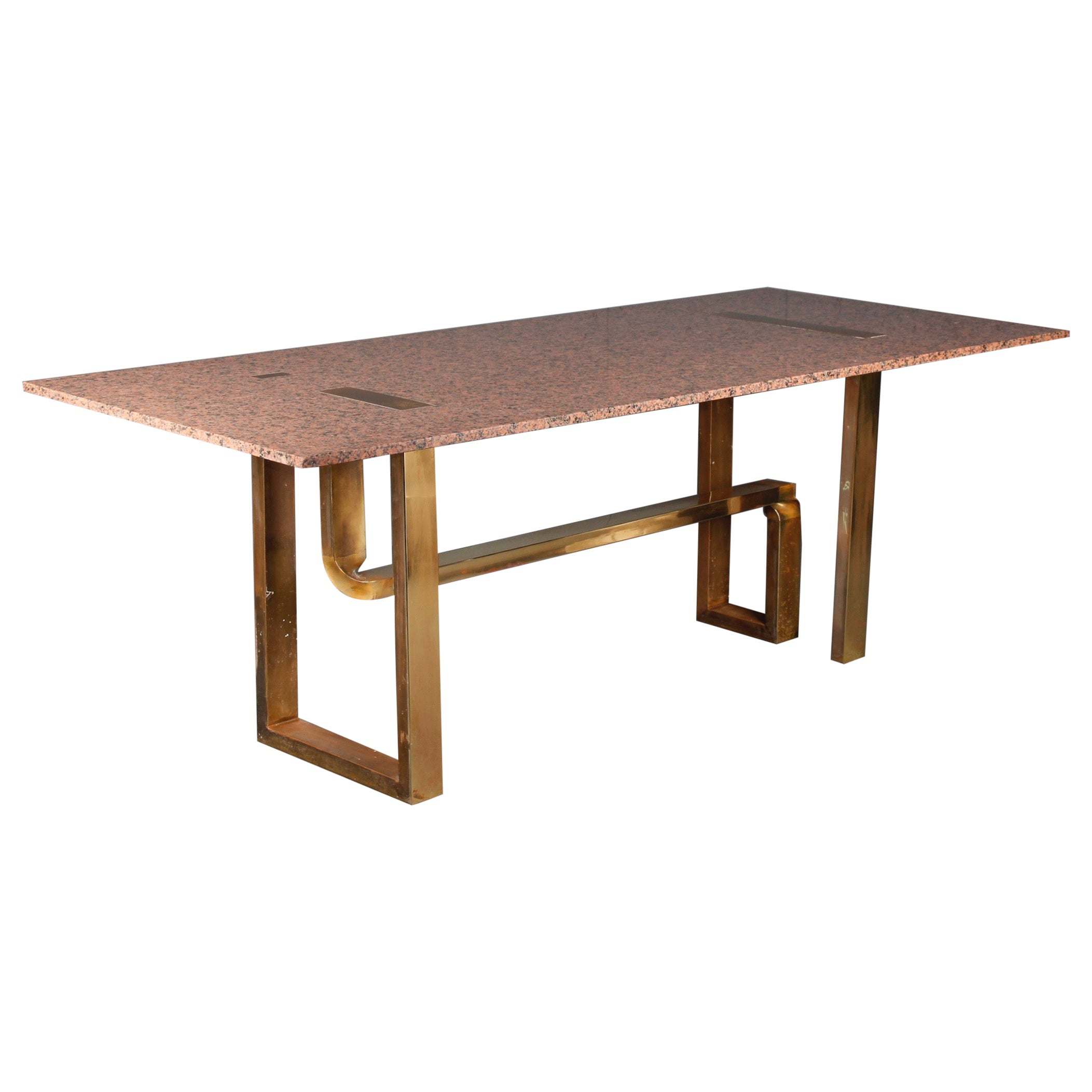 Cittone Oggi Marble and Brass Inlay Dining Table
