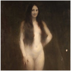 20th Century Oil on Canvas French Female Nude Signed Painting, 1924