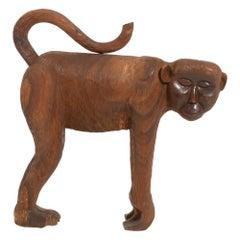 Large Mid-Century Thai Wooden Monkey